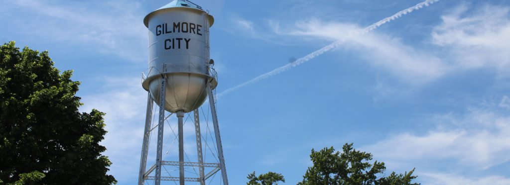Gilmore City silver water tower